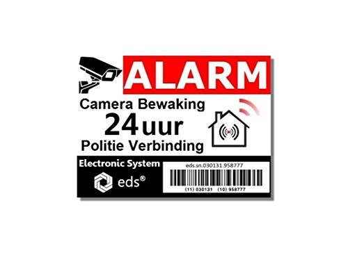 Egero – 8 pegatinas disuasorias, alarma de videovigilancia, protección antirrobos, para edificios residenciales, comercios, etc. Pegatina de alarma para videovigilancia profesional (código de barra)