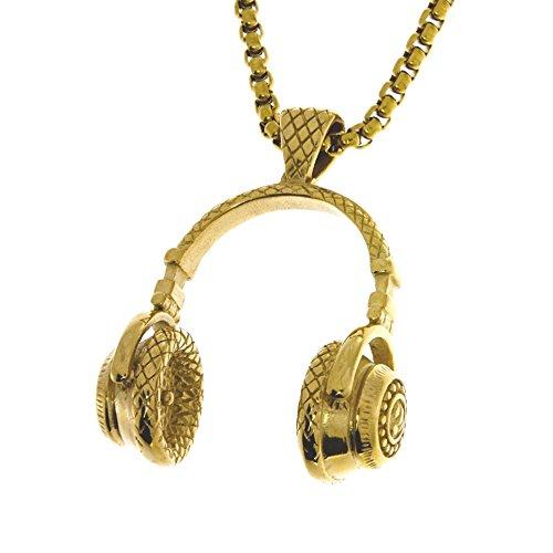 Massive Hip Hop Kopfhörer Halskette in GOLD/Musik / DJ/Kette mit Anhänger