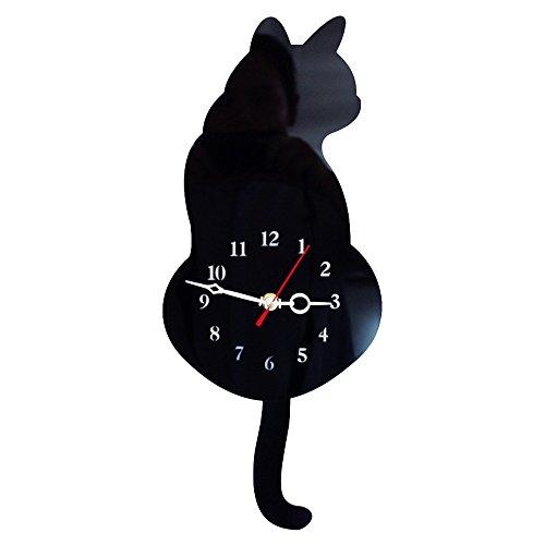 TOOGOO Horloge Murale en Forme de Chat Mignon 3D Silence Decoration de La Maison Cadeau des Enfants...