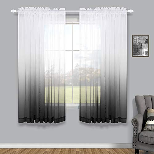 Black Living Room Curtains 63 Inch Length 2 Panels Set Rod Pocket Window Semi Sheer Drapes Ombre Patterned Design White and Black Pattern Curtains for Bedroom Kitchen Bathroom