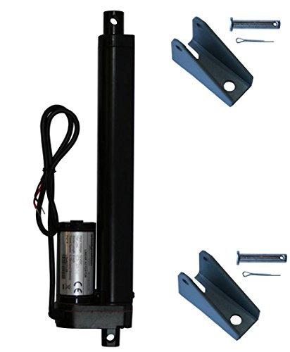 "WINDYNATION 8 Inch 8"" Stroke Linear Actuator 12 Volt 12V 225 Pounds lbs Maximum Lift (Includes Mounting Brackets)"