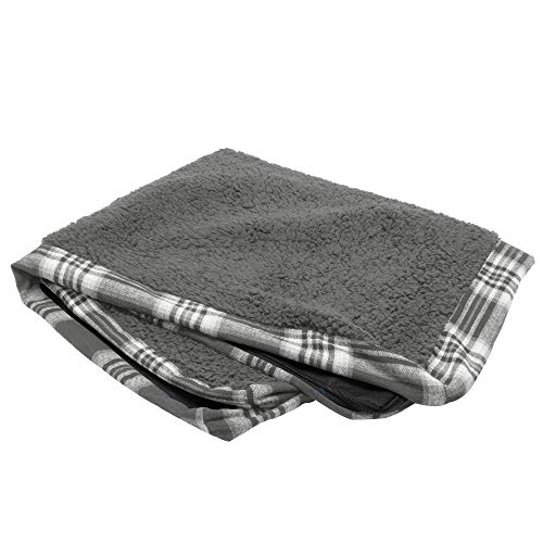 Furhaven Pet Dog Bed Cover | Deluxe Mat Terry & Plaid Flannel Traditional Foam Mattress Pet Bed Replacement Cover for Dogs & Cats, Smoke Gray, Medium