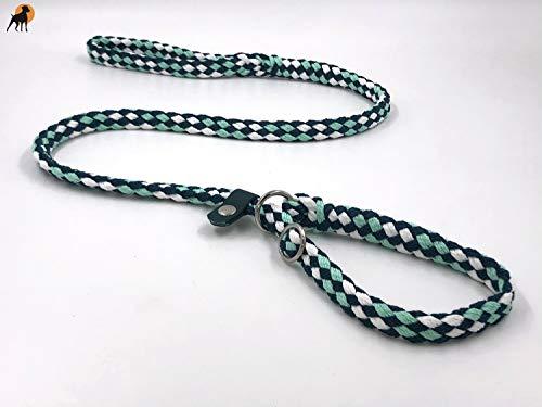 HWP Agility Leine Retrieverleine mit Halsband + Zugstop, Handgeflochten 12mm x 150cm, Peppermint