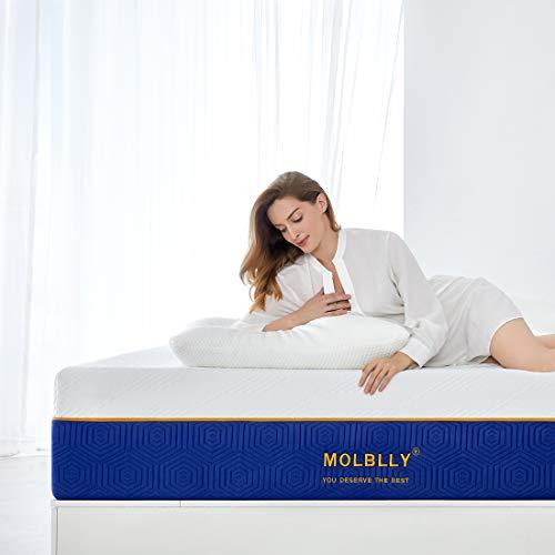 Molblly Matratze, Gel-Memoryschaum-Matratze mit CertiPUR-US zertifizierter Schaumstoffmatratze in einer Box für Kühlung und Druckentlastung, 20 cm Double (135x190x20cm)