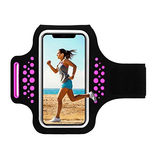 Guzack Brassard de Sport pour Samsung Galaxy A 50s/A 30s/S10/S9/S8/S7/S6, iPhone 11/XR/XS/8/7/6s/6 Plus, Jusqu'à 6,4 Pouces, Universel Brassard de Course Ajustable Sangle -Clés Poche de Carte-Touch ID