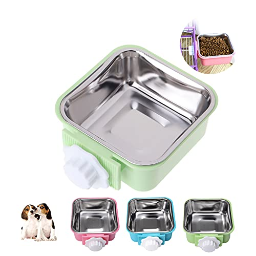Crate Dog Cat Bowls, Removable Stainless Steel Hanging Pet Cage Bowls Kennel, Food Water Feeder Bowls with Bolt Holder for Puppy Cat Rabbite Birds (Small, Green)