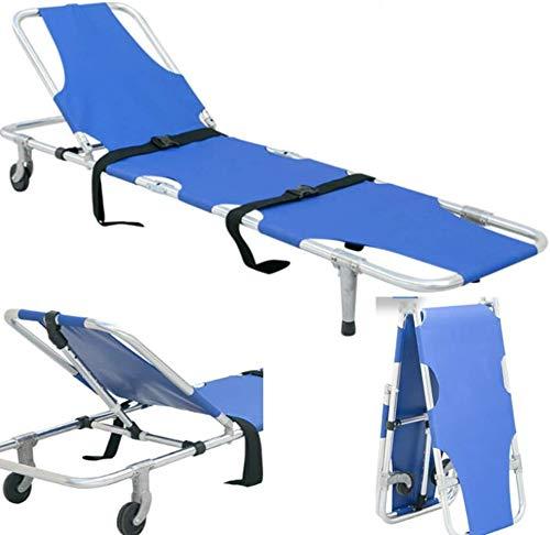 GLJY Zusammenklappbare kompakte tragbare Trage mit Rädern, Aluminiumtrage Notfallmedizinische Reise Krankentransporttrage Gewichtskapazität 350 lb.