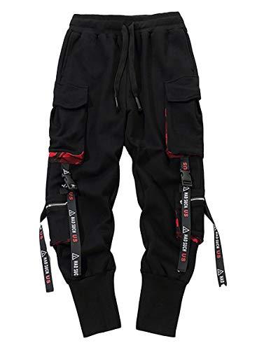 Onsoyours Haremshose für Herren Beiläufig Mehrere Taschen Jogginghose Hip Hop Hosen Overall Konische Hosen Streetwear C Schwarz L