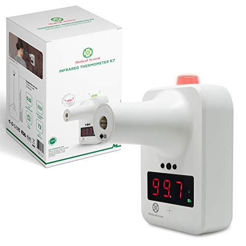 VALLF Medical System Wall-Mounted Infrared Forehead Thermometer - Non-Contact Digital Thermometer for Kids and Adults, with Fever Alarm and LCD Display. Self-Service Fever Test for All Places.