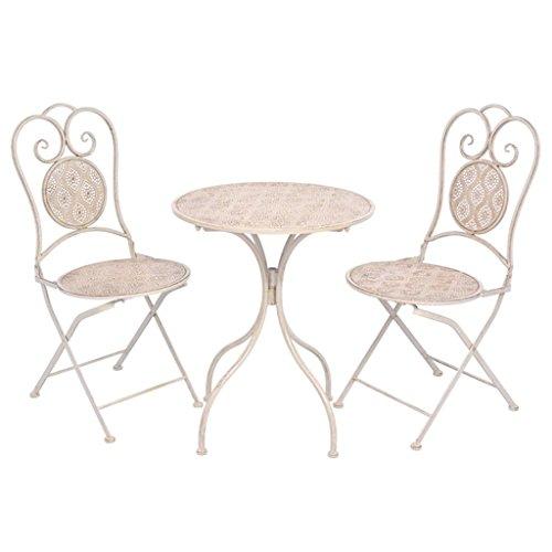 mewmewcat Bistroset Balkonset Balkonmöbel aus Stahl Weiß Zusammenklappbar Weiß mit handgemalten Details