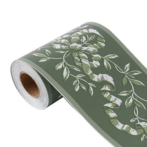 sourcing map Wandpapier Bordüre Selbstklebend Wandbelag PVC Boden für Küche Bad Schlafzimmer Wanddekor 3,94 Zoll von 32,8 Fuß Grün Verzweigungsmuster