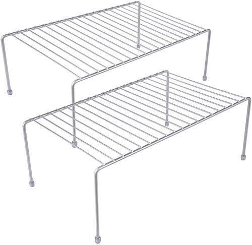Kitchen Storage Shelf Rack w Plastic Feet Medium Steel Metal Rust Resistant Finish Cups Dishes product image