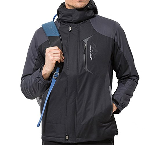 emansmoer Homme Hiver Coupe Vent Coton rembourré Doublé Polaire Manteau Imperméable Outdoor Sport Veste de randonnée Ski (XXX-Large, Noir)