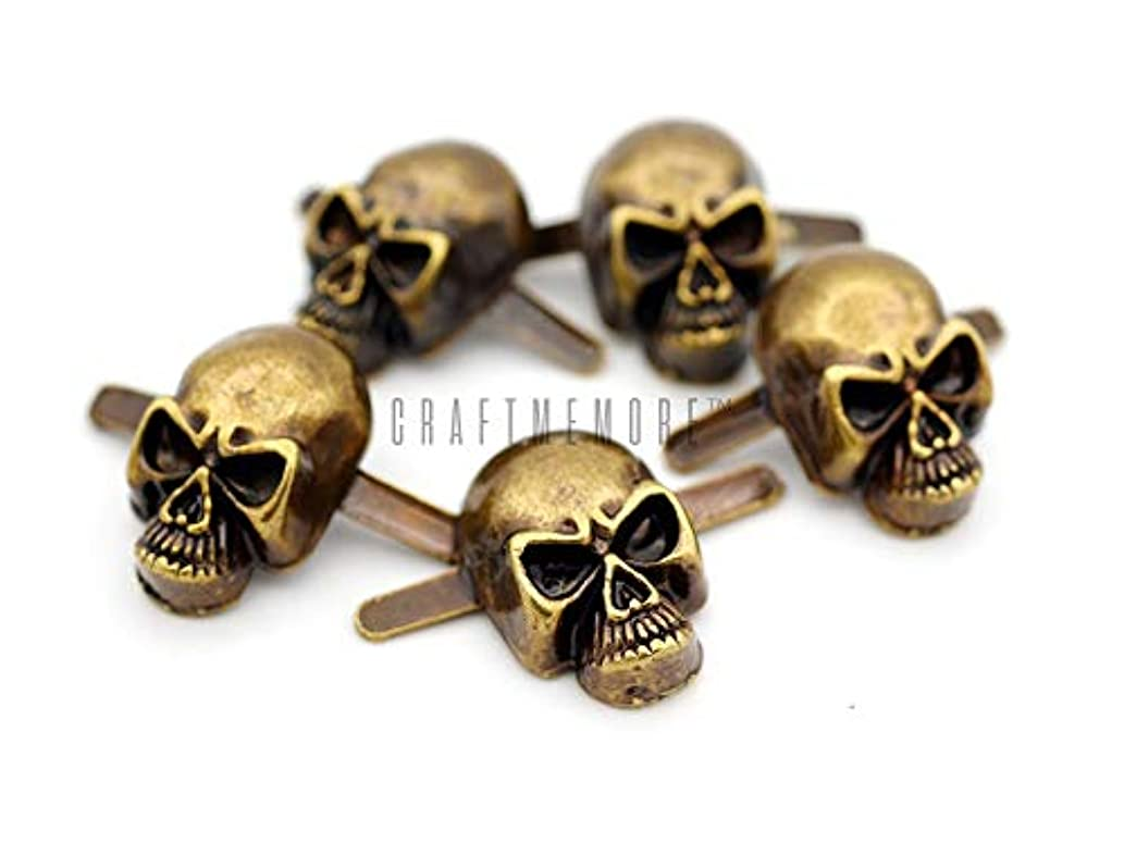 CRAFTMEmore Skull Prong Stud Head Bone Gothic Style Ghost Studs Leather Craft Decorations Pack of 10 (Medium 10 x 15 mm, Antique Brass)