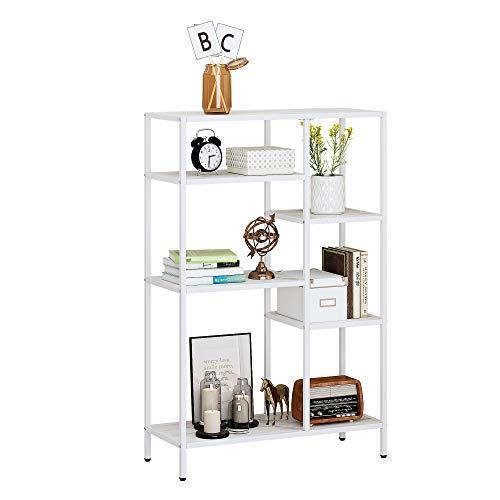 HOMEFORT Industrial Bookcase, Open Shelf Etagere Bookcase, Vintage Bookshelves, Freestanding Display Storage Organizer for Home Office. (White)