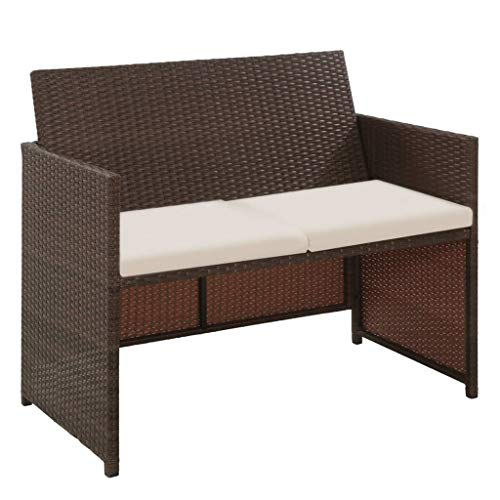 FKBED Jardín Salón Sofá con Cojines, Brown Resina Trenzada Banco for sillas de jardín Balcón Patio del Camping al Aire Libre del Patio Trasero de Muebles