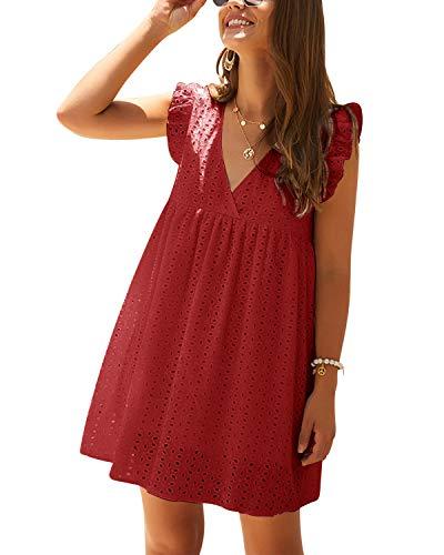YOINS - Vestito estivo da donna, scollo a V, maniche corte, con volant, lunghezza corta, mini abito casual Colore: rosso M
