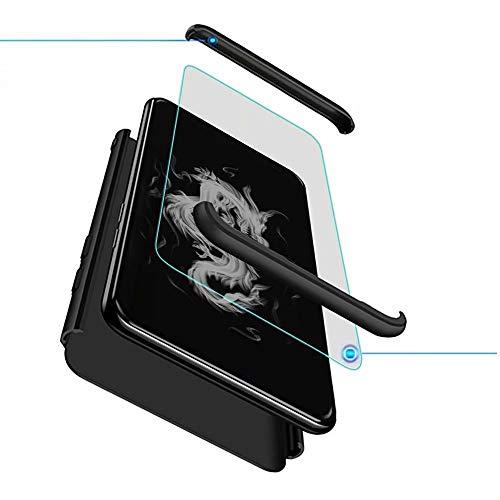 Kompatibel mit Oppo K1/Oppo R15 X/Oppo RX17 Neo Smartphone Hülle(2018)+3D Panzerglas/Hülle Ultra Dünn 3 in 1 Schutzhülle 360 Grad Stoßfest Hülle Cover Handyhülle für Oppo K1-Schwarz
