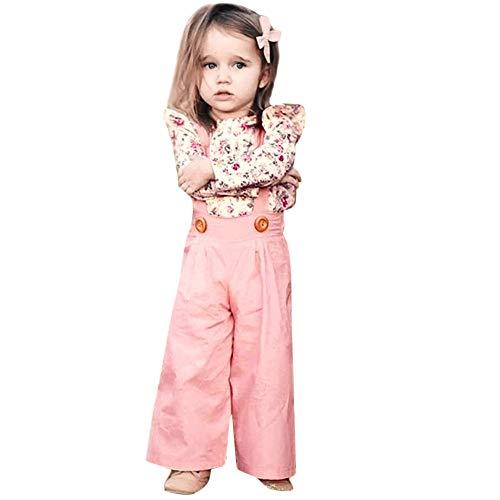 Kobay 2PCS Kleinkind Baby Mädchen Lange Ärmel Blumen Oberteile + Solide Overalls Bib Hosen Kleidung Outfits Sets(3-4T,Rosa)