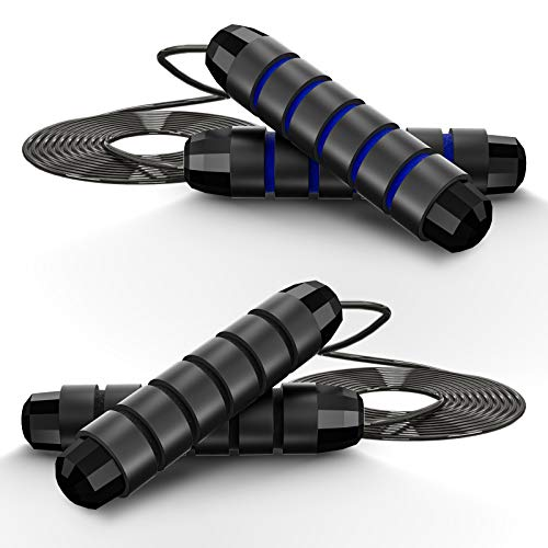 """Jump Rope, Tangle-Free with Ball Bearings Rapid Speed Jump Rope Cable and 6"""" Memory Foam Handles for Exercise Fitness, Adjustable Jumping Ropes for Women Men Kids-2 Pack (Black & Blue)…"""