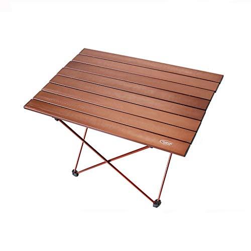 Table De Camping en Aluminium Portative Se Pliante De Camping en Plein Air Appropriée Au Camping, À La Randonnée, À L'Aventure De Forêt (Color : Brown Medium)