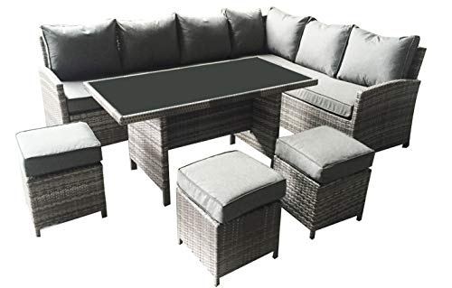 Rattan Garden Furniture L-Shaped Dining Corner set - 8 seater - Long Left hand sided 2.5M x 1.9M- 6 piece set - 2 Man Home delivery -
