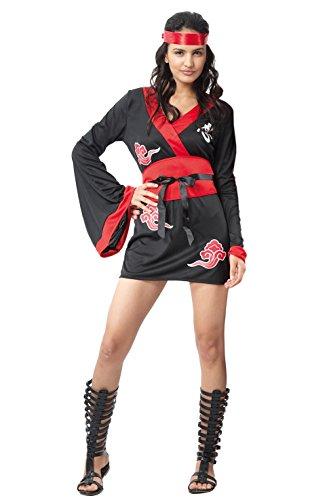 Paolo-Ninja Girl kostuum voor dames volwassenen, zwart, maat 40-42, 62058