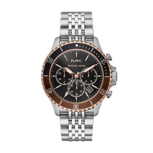 Michael Kors Men's Bayville Quartz Watch with Stainless Steel Strap, Silver, 22 (Model: MK8725)