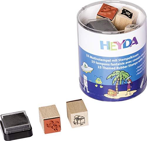 Heyda 204888486 Heyda 204888486 Stempel-Dose (Piraten & Raumfahrer) Motivgröße: ca. 1,5 x 1,5 cm