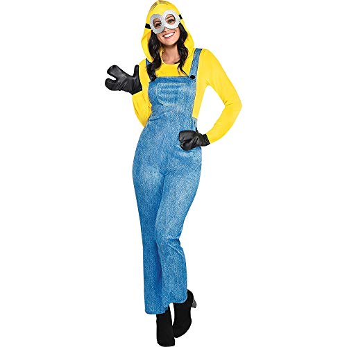 Party City Minion Halloween Costume for Women, Minions: The Rise of Gru, Medium (6-8), Jumpsuit, Goggles and Gloves