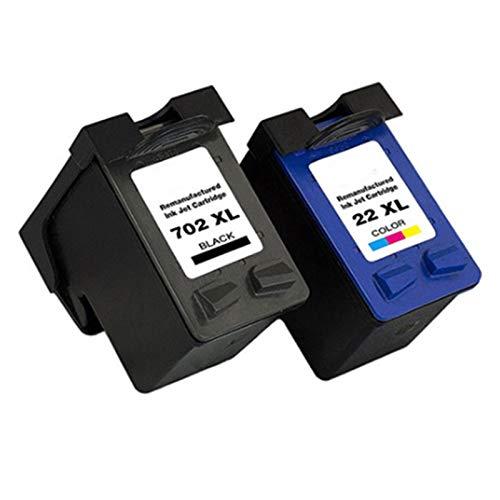 Cartuchos de tinta compatibles de repuesto adecuados para impresora Hp702xl 22xl, para HP Officejet J3500 J3508 J3600 1 set