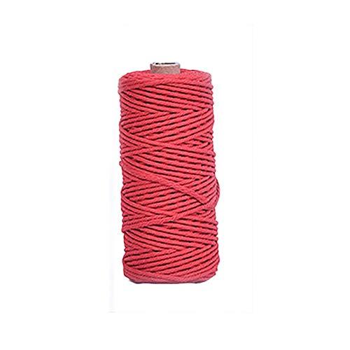LCBYOG Cuerda de algodón Suave Beige Craft Craft Macrame Artisan String para Hechos a Mano DIY Hecho a Mano Cuerda de Hilo Cuerda de Cuerda 2mm * 200m Hilo De Yute (Color : 4mm 100M Red)