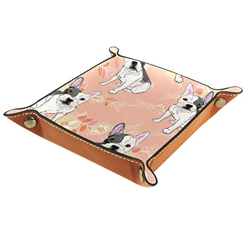 MUMIMI Plato cuadrado de cuero para mujeres y niñas, bandeja para joyas, diseño de perro carlino blanco y negro, regalo de cumpleaños