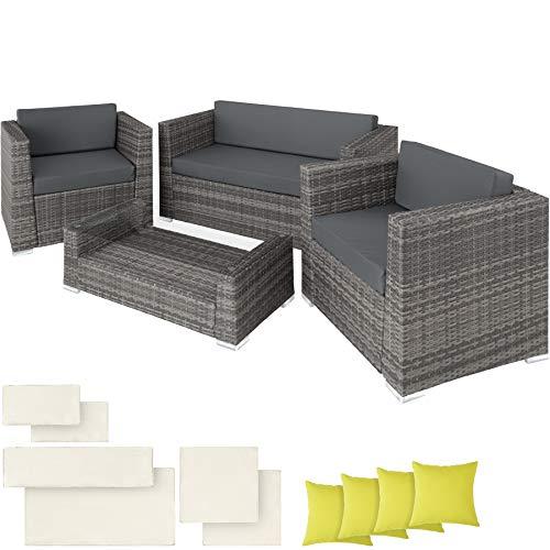 TecTake POLIRATÁN Aluminio Conjunto TRESILLO Muebles DE RATÁN Conjunto para JARDÍN + 4 Almohadas (Gris | No. 403085)