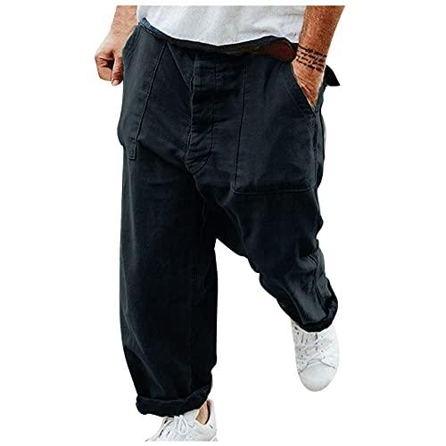 MARIJEE Pantalones deportivos de gimnasio para hombre, sueltos estilo retro de la calle, de color liso, pantalones de talla grande, pantalones casuales para correr, entrenamiento (azul marino, XXL)