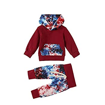 Toddler Baby Boy Girl Clothes Tie Dye Hooded Sweatshirt Top Pocket Pants Outfits Sets 2Pcs  Red 6-12 Months