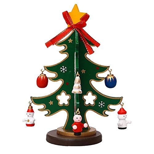 Shimigy Wooden Christmas Tree Table Ornaments Christmas Tree/Party Decorations, Non-Slip Edges/Exquisite Dyeing/ Environmental Protection(17x11cm) (Green)