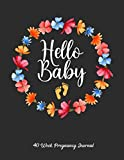 40 Week Pregnancy Journal Hello Baby: 40 Weeks Calendar Appointment Schedule Tracker Organizer Book for Awesome New Moms | Log Book, Planner and ... Mothers | New Mommy Gifts With a Floral Cover