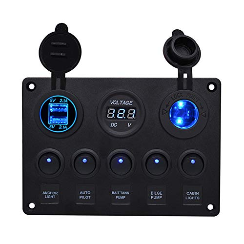 BOSTAR Panel de Control de 5 Interruptores con 2 USB y Volt�