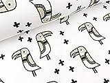 Albstoffe Hamburger Liebe Sommersweat Mono Big Bird weiß