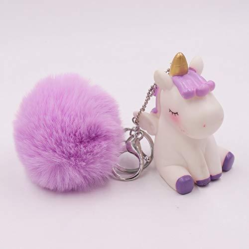 Juguetes Llavero con pompón de Felpa de ensueño, Llavero Redondo de Unicornio de Piel de Conejo Artificial, Bolso Escolar para niña, Llavero con Colgante de Unicornio (Color : YSK DJs Purple)