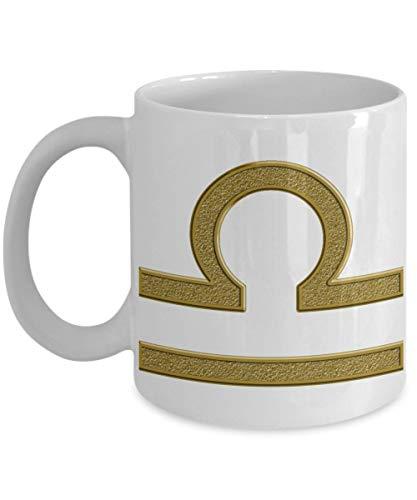 N\A Zodiac Mug - Waage Horoskop Symbol -CeramicCoffee Tea Cup Gold