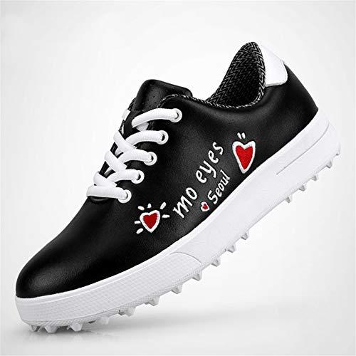 GRASSAIR Golfschuhe für Kinder wasserdichte atmungsaktive Sportschuhe Bedruckte verschleißfeste rutschfeste Turnschuhe für Jungen und Mädchen,Schwarz,37