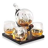 ALINK Etched Globe Whiskey Decanter Gift Set- Glasses & Glass Beverage Drink Dispenser