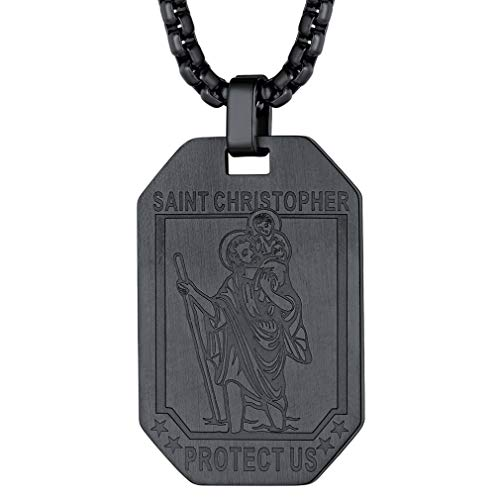 FaithHeart Black Saint Christopher Pendant Protection Necklace 55 cm Neck Chain Saint Christopher Dog Tag Religious Jewellery Christening Gifts, Lucky Charms for Cars Protection Talisman
