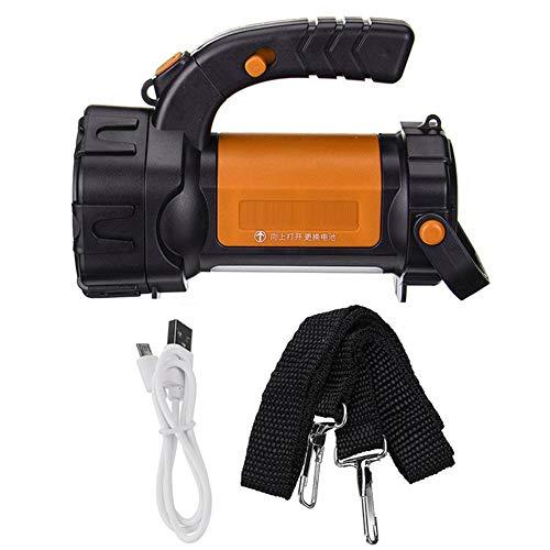 SDlamp 200W Bright Potente LED Búsqueda de LED, con 3 Modo de luz, Flashlight Power Bank, 2000 Lumens Recargable Batería Resistente al Agua Antorcha,Naranja