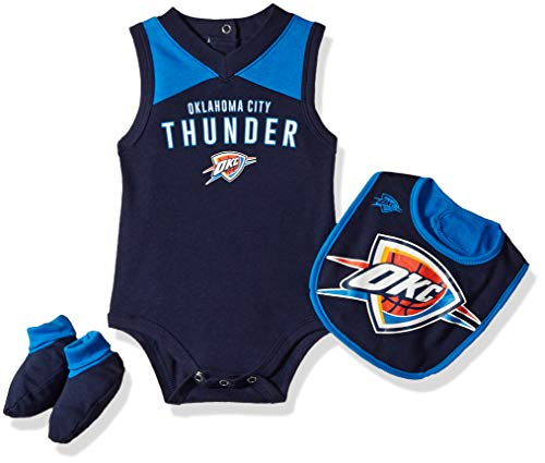 NBA by Outerstuff NBA Newborn & Infant Oklahoma City Thunder 'Overtime' Bodysuit, Bib & Bootie Set, Dark Navy, 0-3 Months