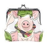 VIKKO sin Costura Cerdos Gorra Verde Bufanda Monedero Retro Bolsa de Dinero con Hebilla de Bloqueo de Beso Cartera Tarjetero para Mujeres y niñas