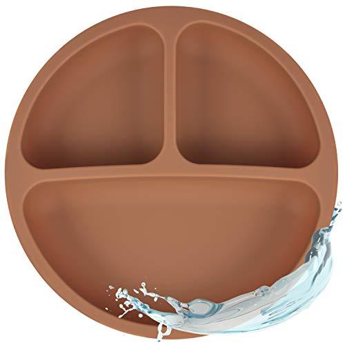 Silikon Teller für Babys und Kinder   Babygeschirr, Rutschfest, BPA-frei, Wasserdicht, Abwaschbar & leicht zu reinigen   Silikonteller Clay für Junge/Mädchen (Braun)