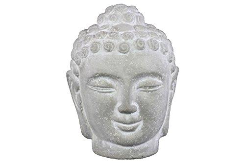 Urban Trends 37201 Cement Buddha Head with Rounded Ushnisha Washed Concrete Finish White